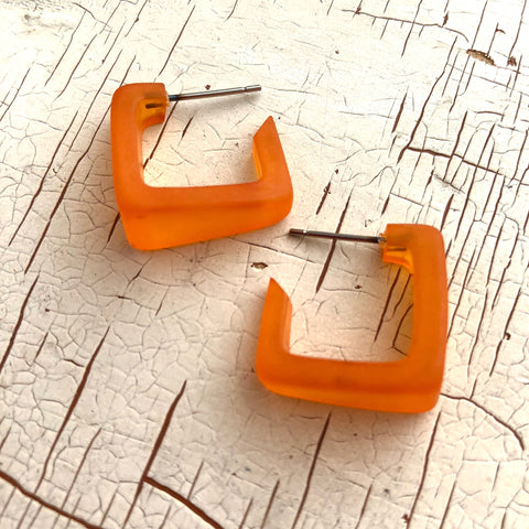 Orange Frosted Square Bermuda Hoop Earrings