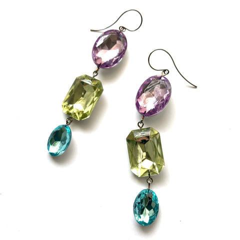 Pastel Story Shine On Gem Triple Drop Earrings