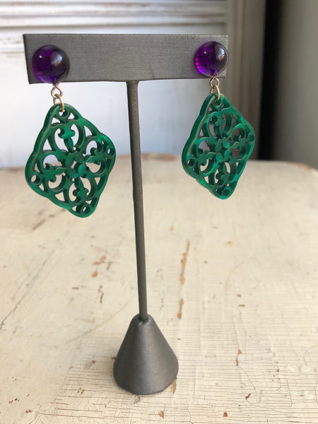 green boho earrings