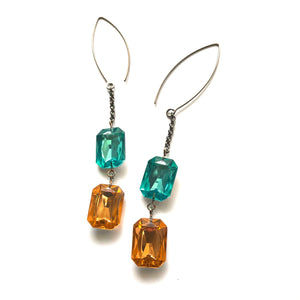 Teal & Tangerine Shine-On Gem RainChain Earrings