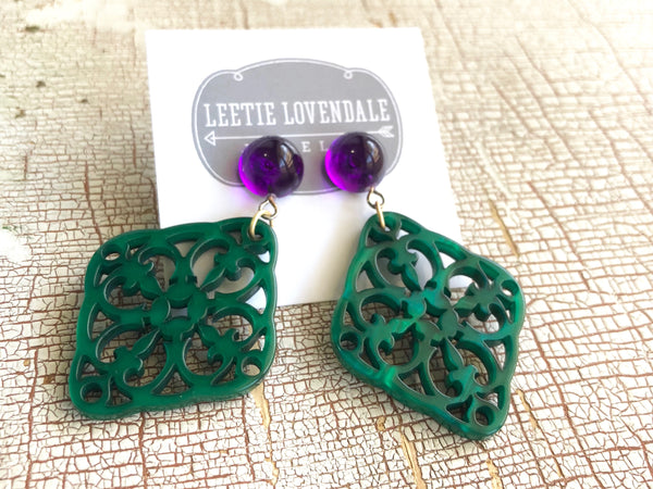 boho lace statement earrings