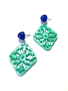 teal moonglow earrings