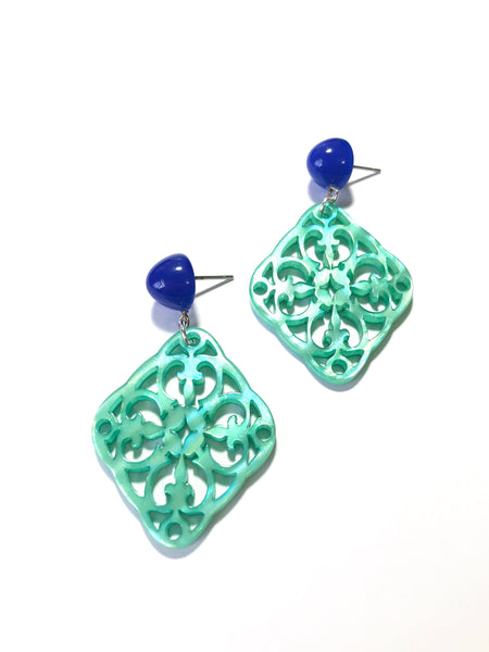 teal moonglow studs