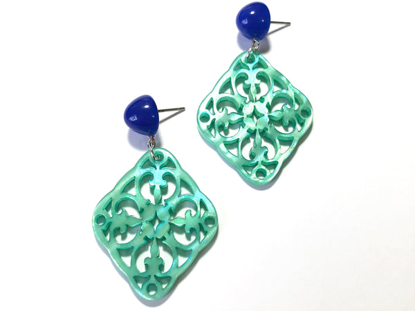Teal & Blue Bohemian Lace Earrings - Carved Medallion Drops
