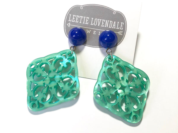 teal blue earrings