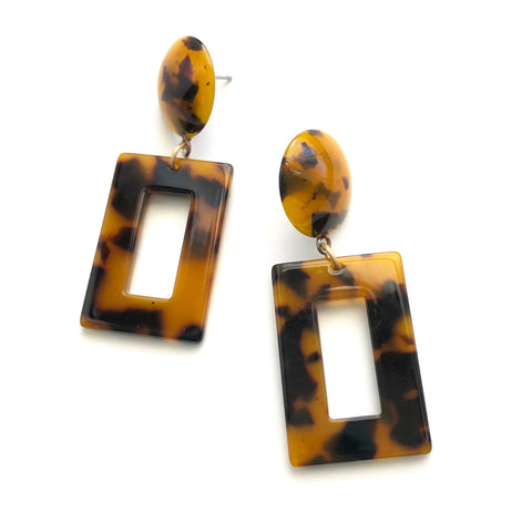 tortoise geometric earrings