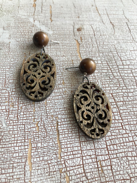 Wood & Sparkle Bohemian Lace Cut Resin Earrings - Carved Moonglow Oval Drops