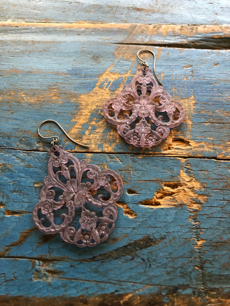 grey filigree earrings