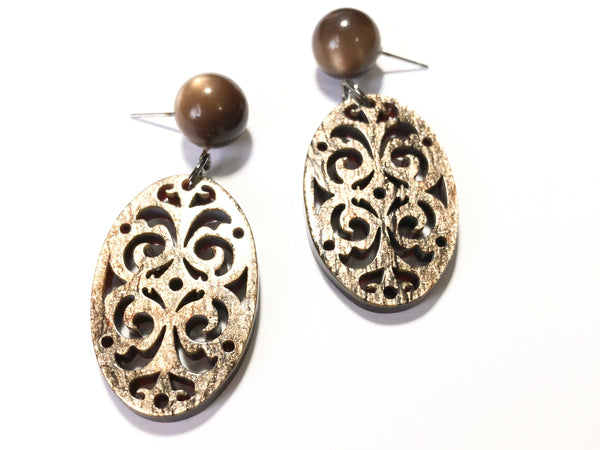 Wood & Sparkle Bohemian Lace Oval Earrings