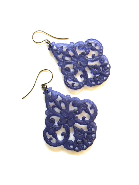 dark blue lucite earrings