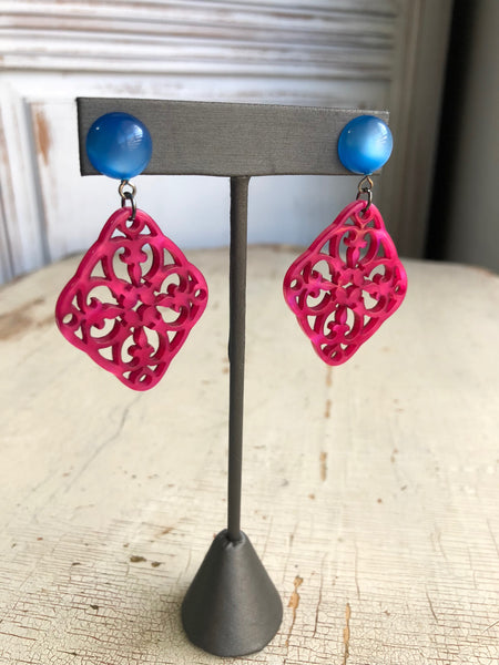 fuchsia moonglow earrings