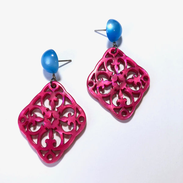 hot pink statement studs