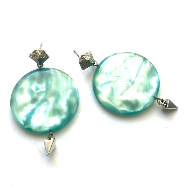 ice blue statement earrings