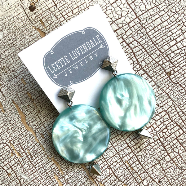 statement earrings blue