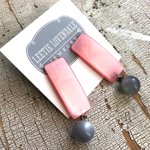 Pink & Grey Moonglow Statement Lucite Drop Earrings