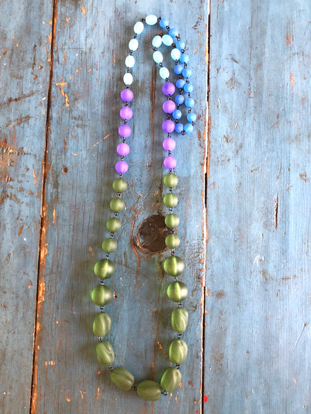 beach glass beaded necklace