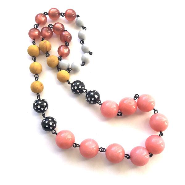 pink coral mustard necklace