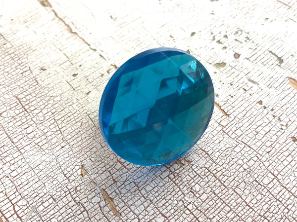 faceted aqua ring