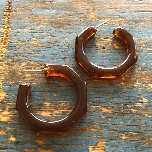 tortoise lucite hoop earrings