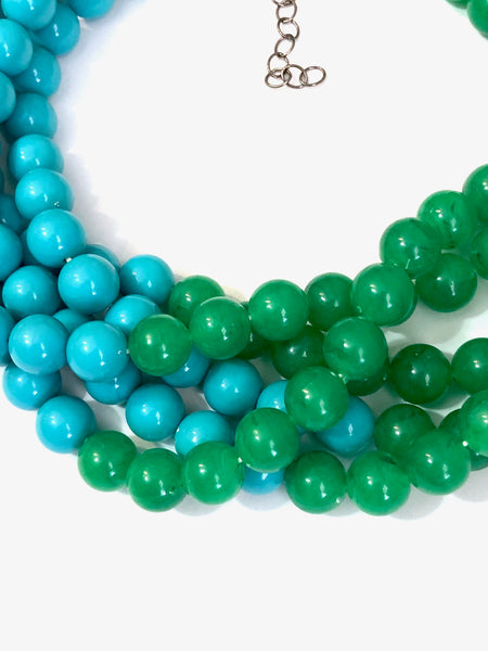 green aqua blue necklace