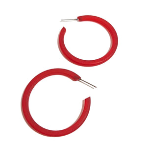 cherry red lucite hoops