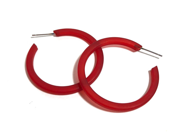 cherry red thin hoops