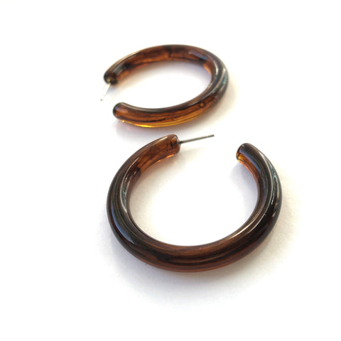 tortoise tube hoop earrings