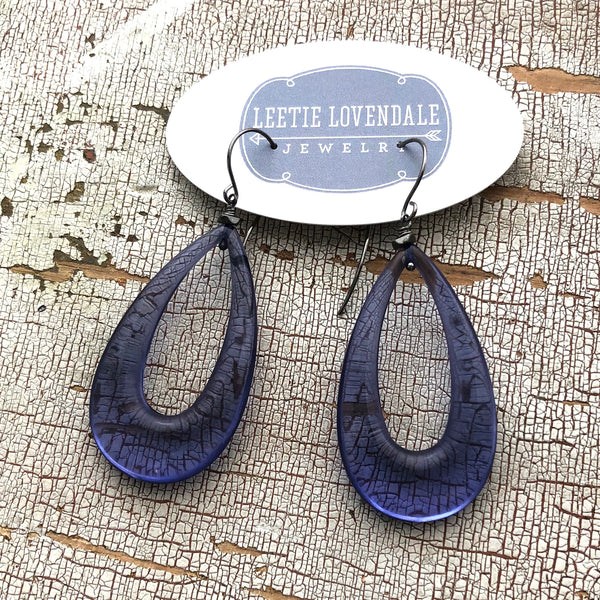 deep blue clear earrings