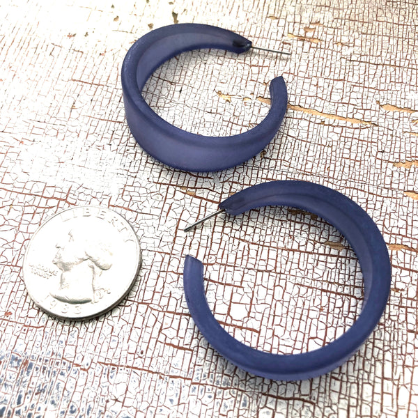 tapered dark blue earrings