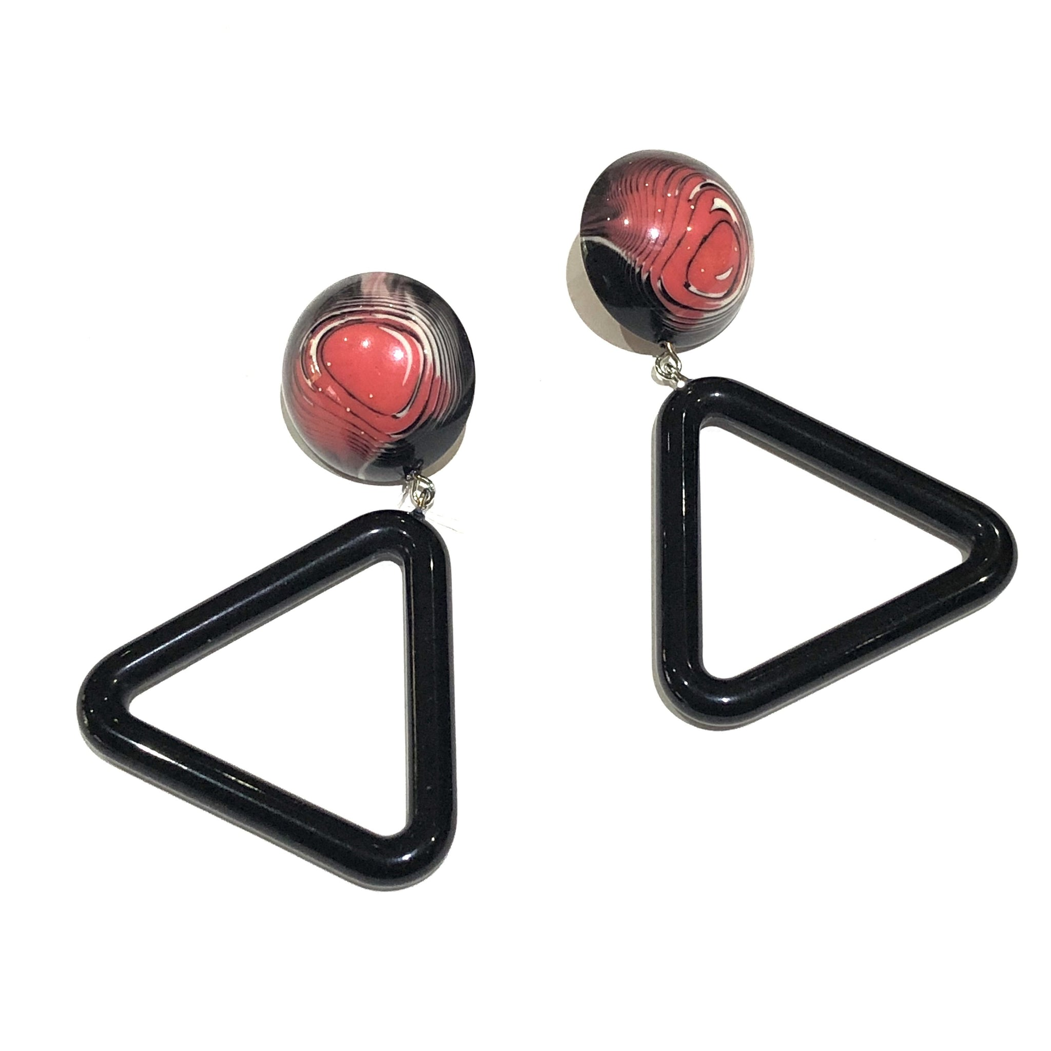 pink retro triangle earrings