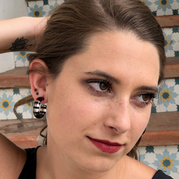 black clear earrings