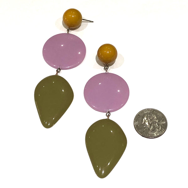 lilac and green earrings