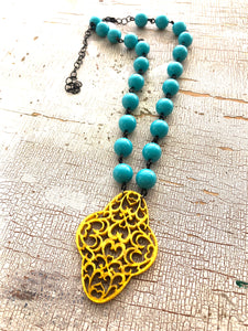 turquoise gold aleta necklace
