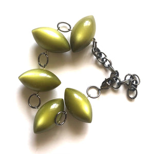 Olive Green Moonglow Lucite Pod Stations Bracelet