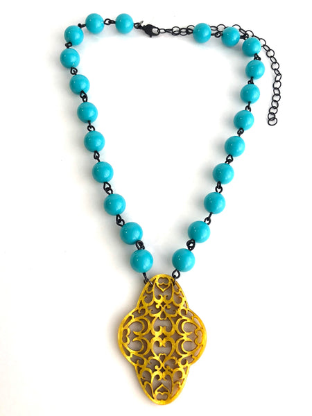 gold and aqua necklace