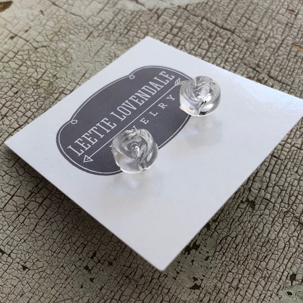 carved clear studs