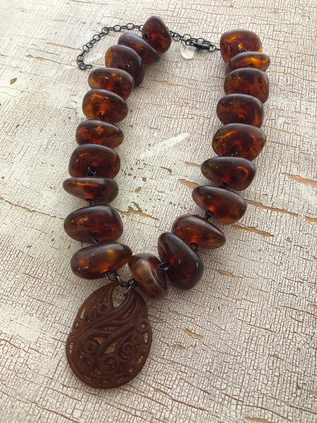 amber necklace lucite
