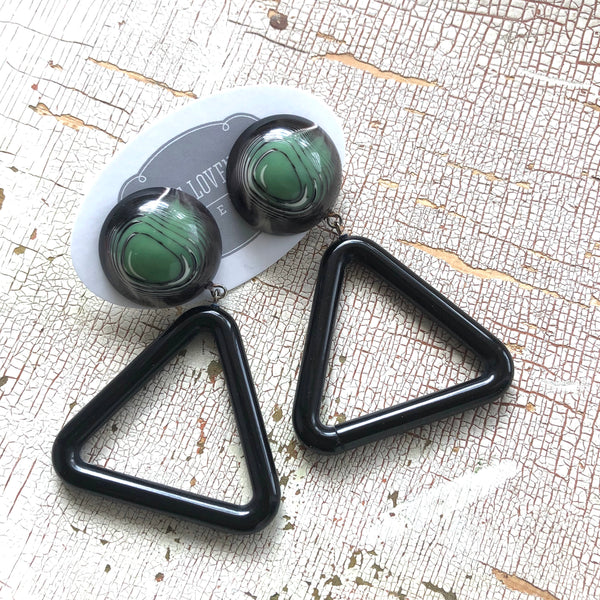 retro vintage earrings green