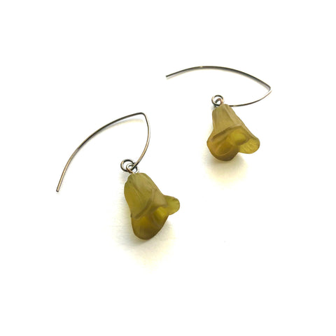 Frosted Olive Floral Drop Earrings