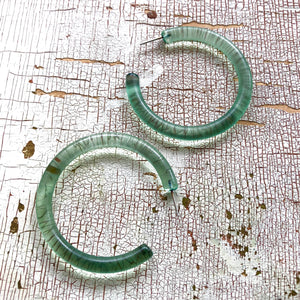 seafoam hoop earrings