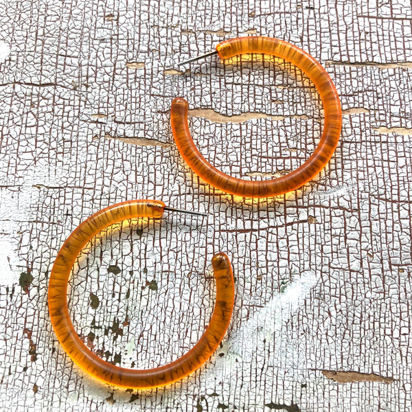 orange tube hoop earrings