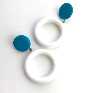 Cadet Blue & White Donut Drop Earrings