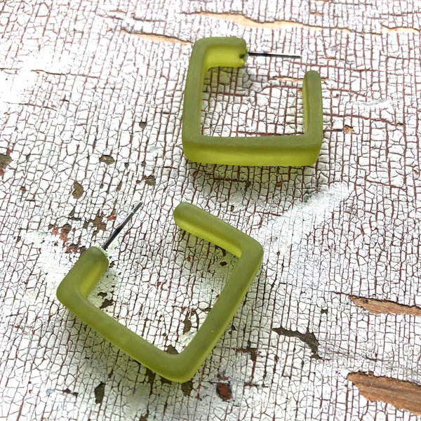 Olive Green Square Frosted Lucite Hoop Earrings