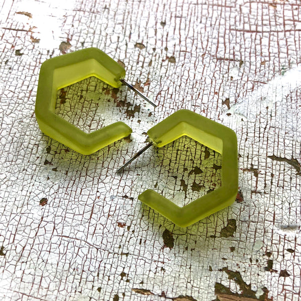 olive green geometric hoops
