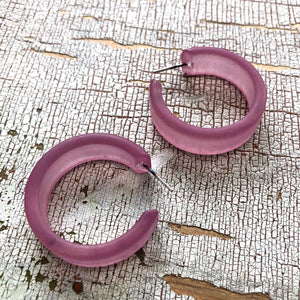 amethyst frosted hoop earrings