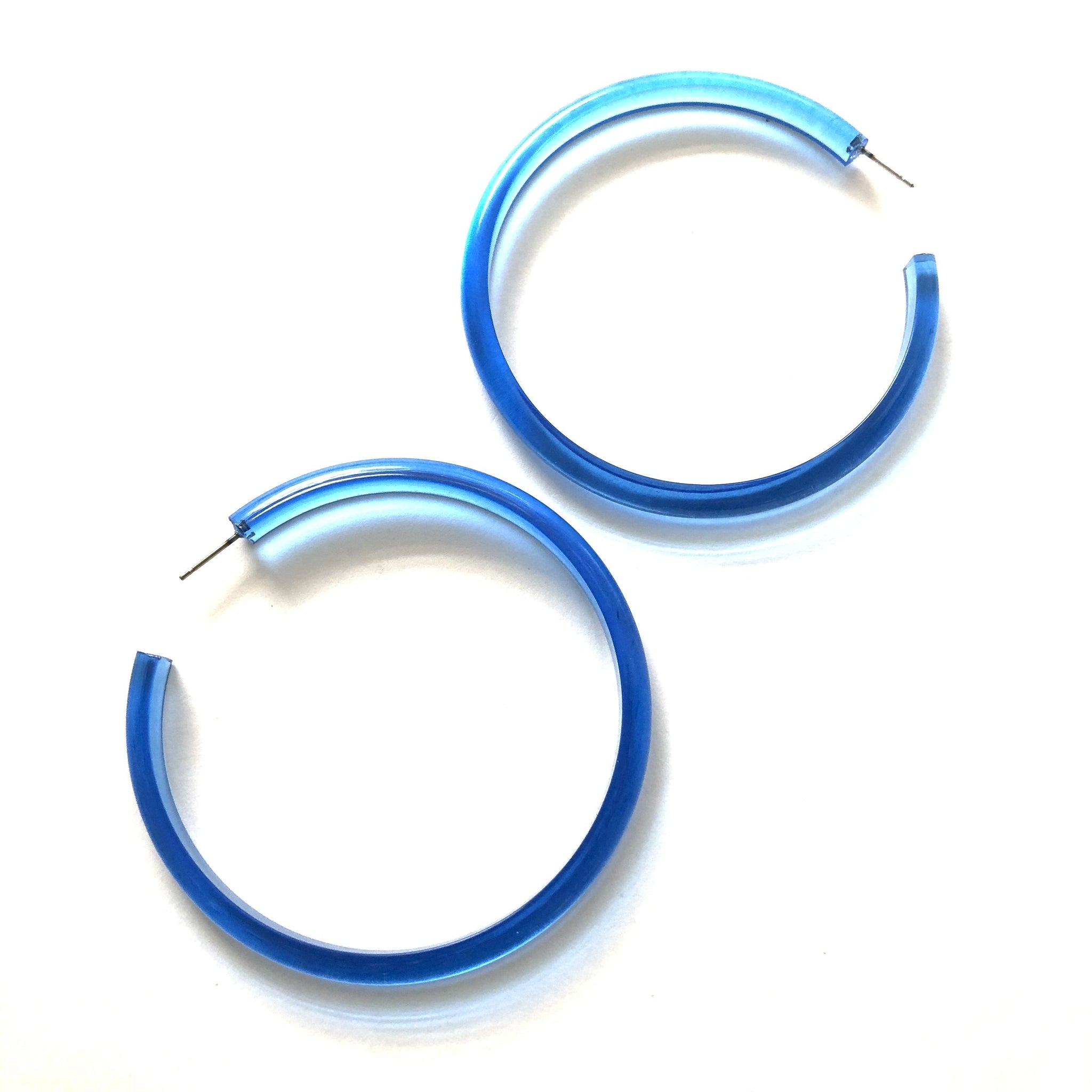 bright blue huge hoop earrings