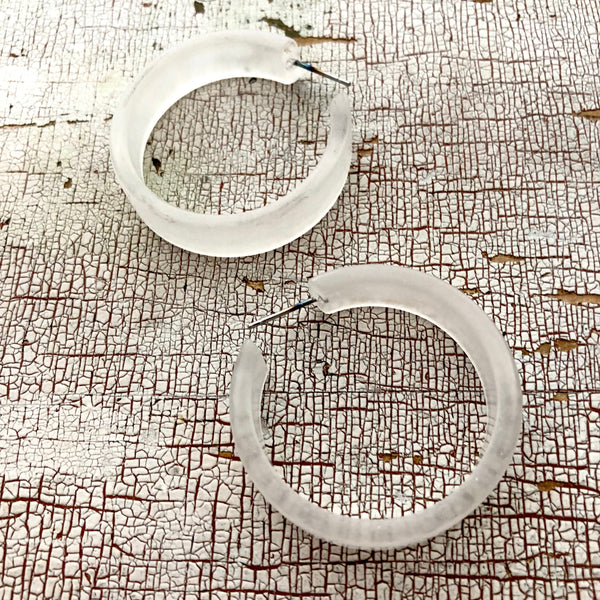 big clear frosted hoops