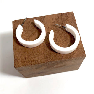 white lucite matte hoops