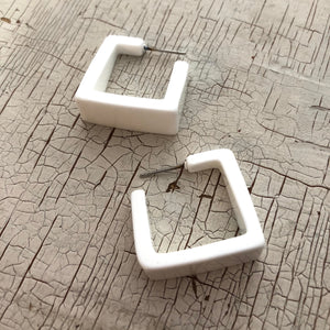 white cubist hoop earrings