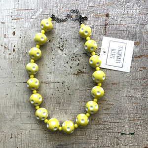 Yellow Polka Dot Heirloom Marco Necklace